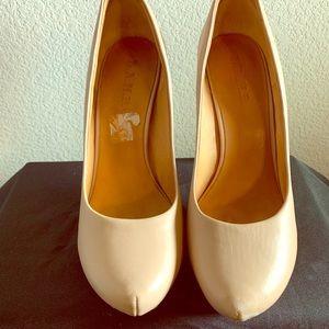 L.A.M.B. Leather tan platform heels